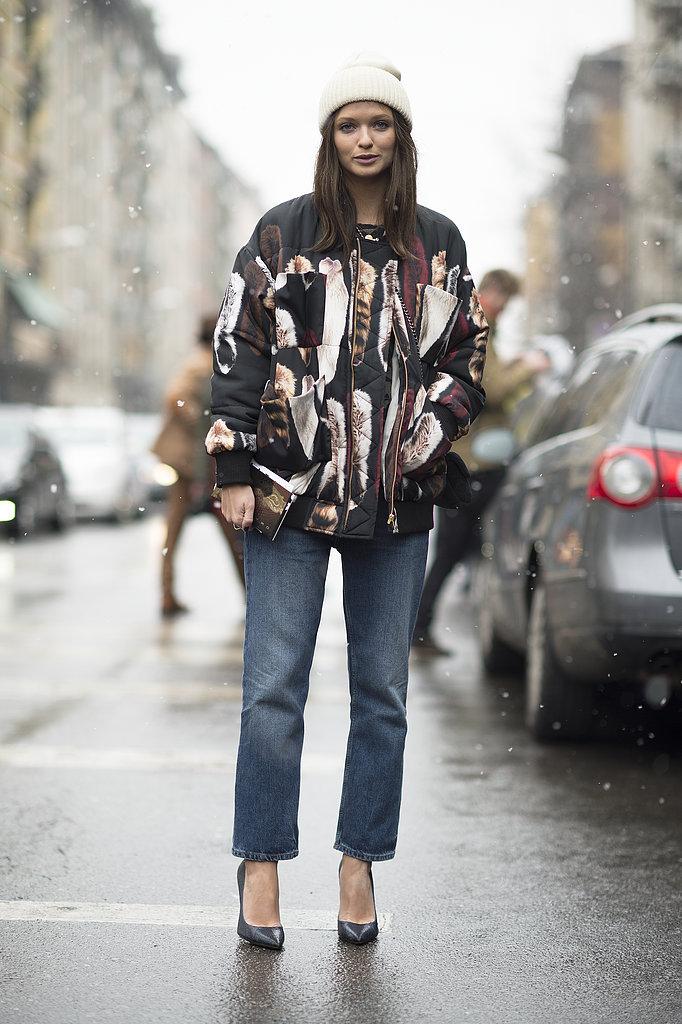 A standout jacket gave tomboy jeans an attention-grabbing counter. Source: Le 21ème | Adam Katz Sinding