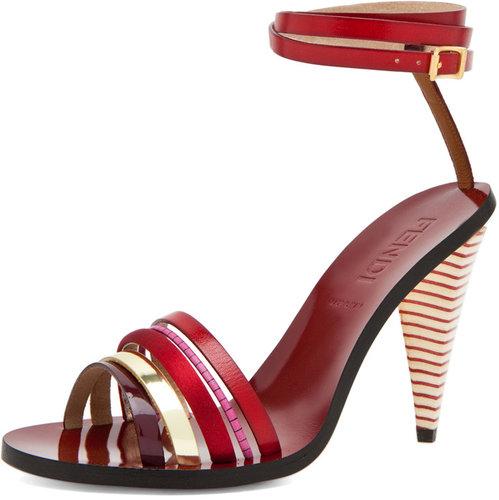 Fendi Mid Heel in Red Multi