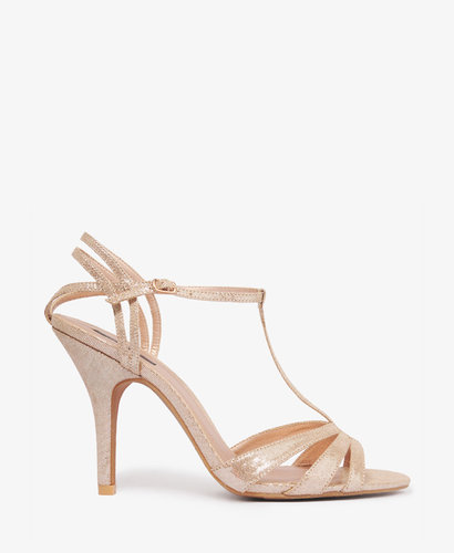 FOREVER 21 Metallic T-Strap Sandals
