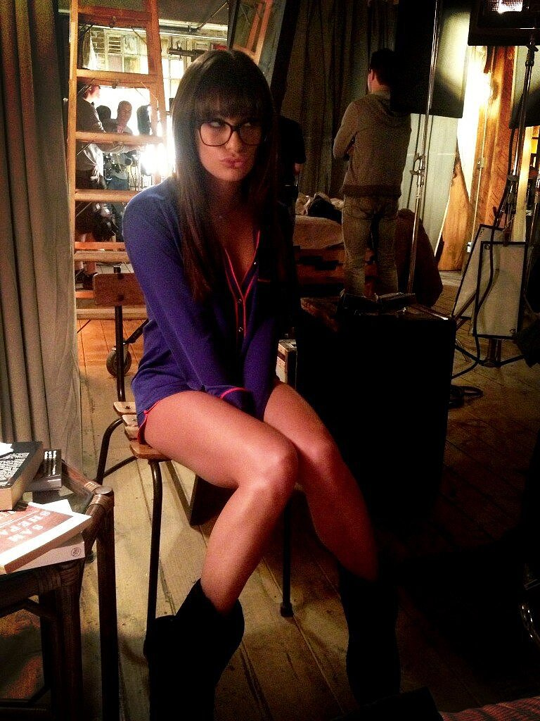 Lea Michele got excited to film scenes for Glee in her pajamas. Source: Twitter user msleamichele