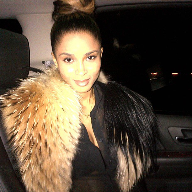 Ciara got dolled up in fur for a night out on the town. Source: Instagram user ciara