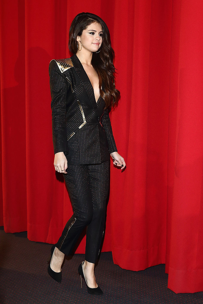 At the Spring Breakers premiere in Berlin, Selena Gomez finished her sexy Versace pin-striped suit with Casadei's black Blade pumps ($725.26).