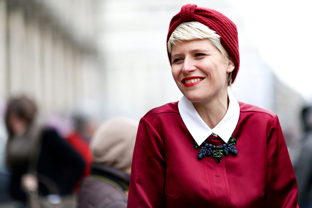 A turban is the ideal cap for showing off a silver pixie.