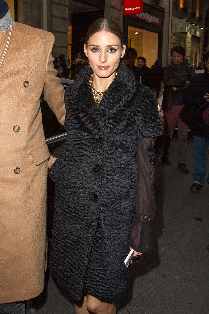 Olivia Palermo arrived at the Rochas show on Wednesday in Paris.