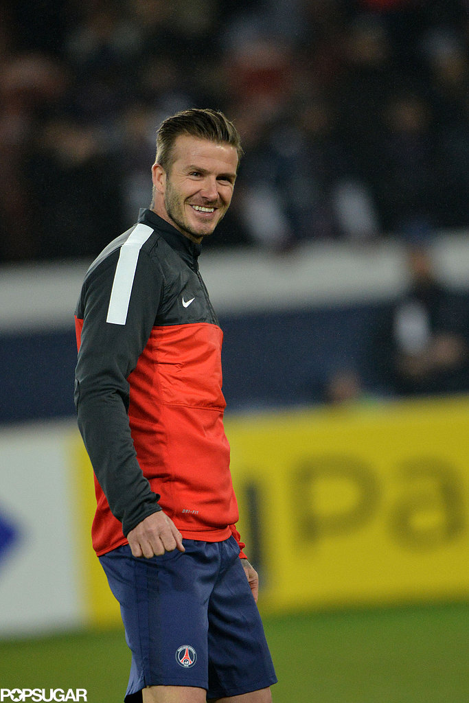 David Beckham smiled on the soccer field in Paris.