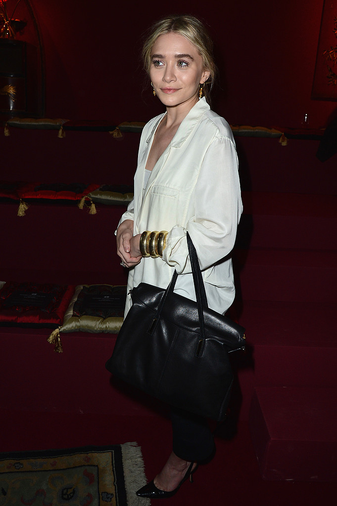 Ashley Olsen arrived at the H&M show on Wednesday night in Paris for Fashion Week.