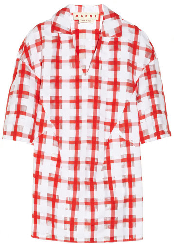 Marni Checked cotton-blend jacquard top