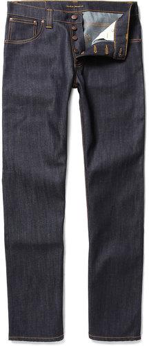 Nudie Jeans Average Joe Organic Straight-Leg Dry-Denim Jeans