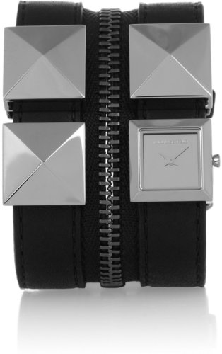 Karl Lagerfeld Karl Zip stainless steel and leather watch