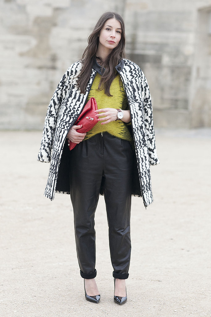 'Laxed leather trousers, citrus and cozy black and white coat livened up this mix.