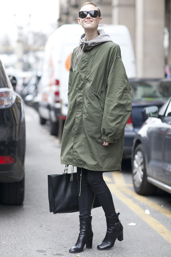 All it takes is an anorak and ankle boots for the cool-girl effect.
