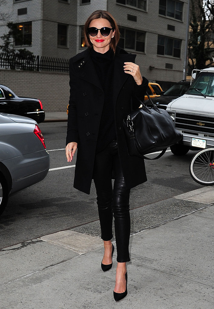Miranda Kerr gave us another reason to love her off-duty style in this sleek Winter coat, slim leather bottoms, and classic black pumps.