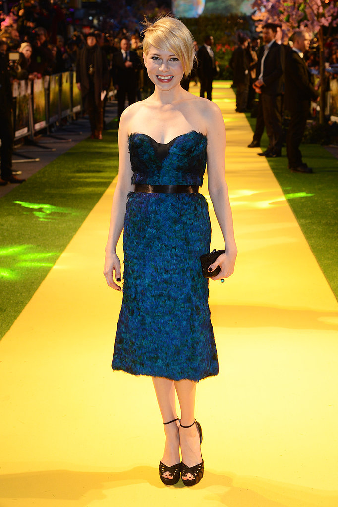 Michelle Williams wowed on the Yellow Brick Road carpet in a strapless, midnight-blue Burberry dress for the European premiere of Oz.