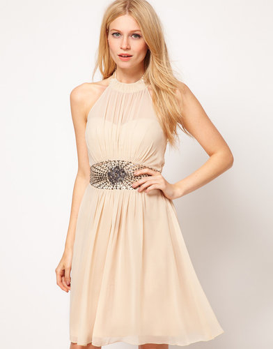 Little Mistress High Neck Embellished Waist Dress