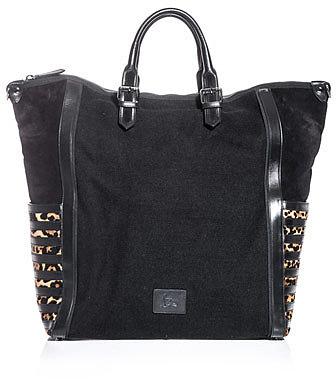 Christian Louboutin Maurice jute and leopard bag