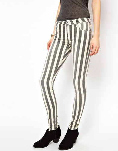 River Island Amelie Skinny Jean In Stripe Denim