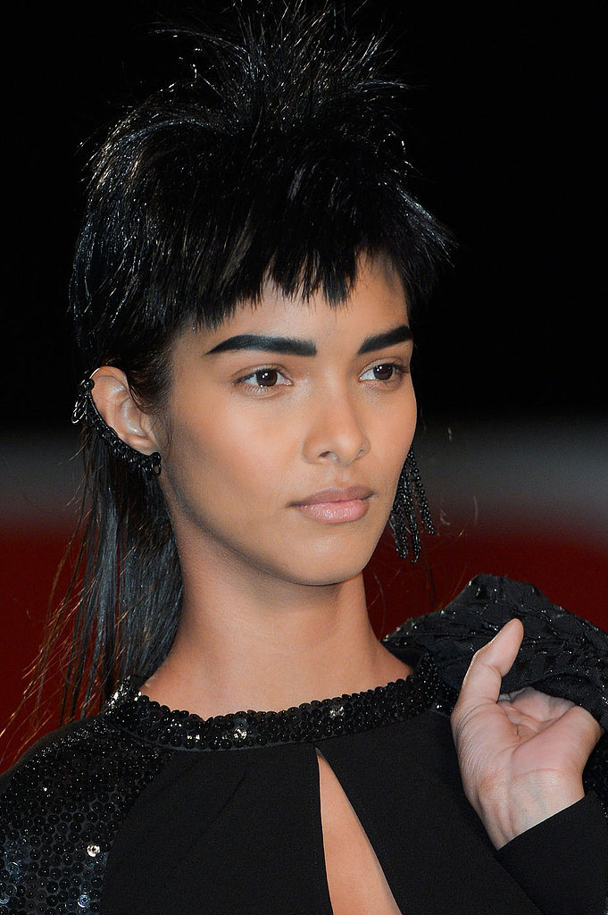 The bold brows were the counterbalance to the heavier wigs with bangs, and nude lips kept the makeup looking fresh.
