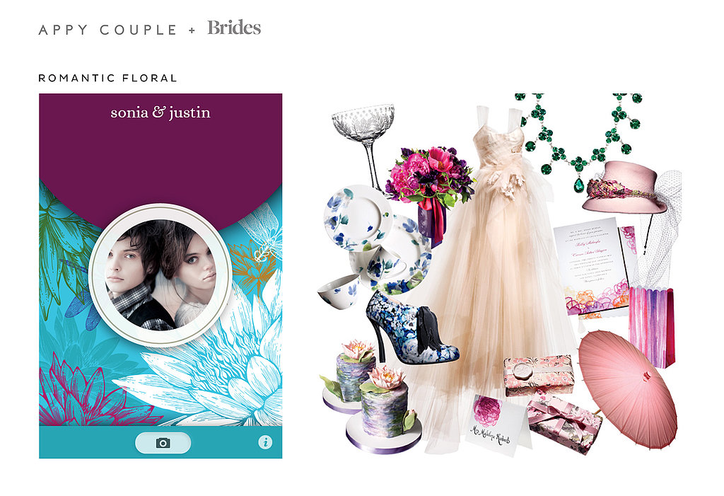 Opt for deep jewel tones with the delicate yet dramatic Romantic Floral ($28) theme. Source: Appy Couple