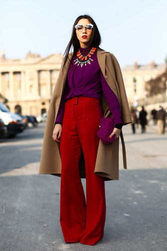 Jewel tones and statement jewels gave this trouser and top look a high-wattage twist.