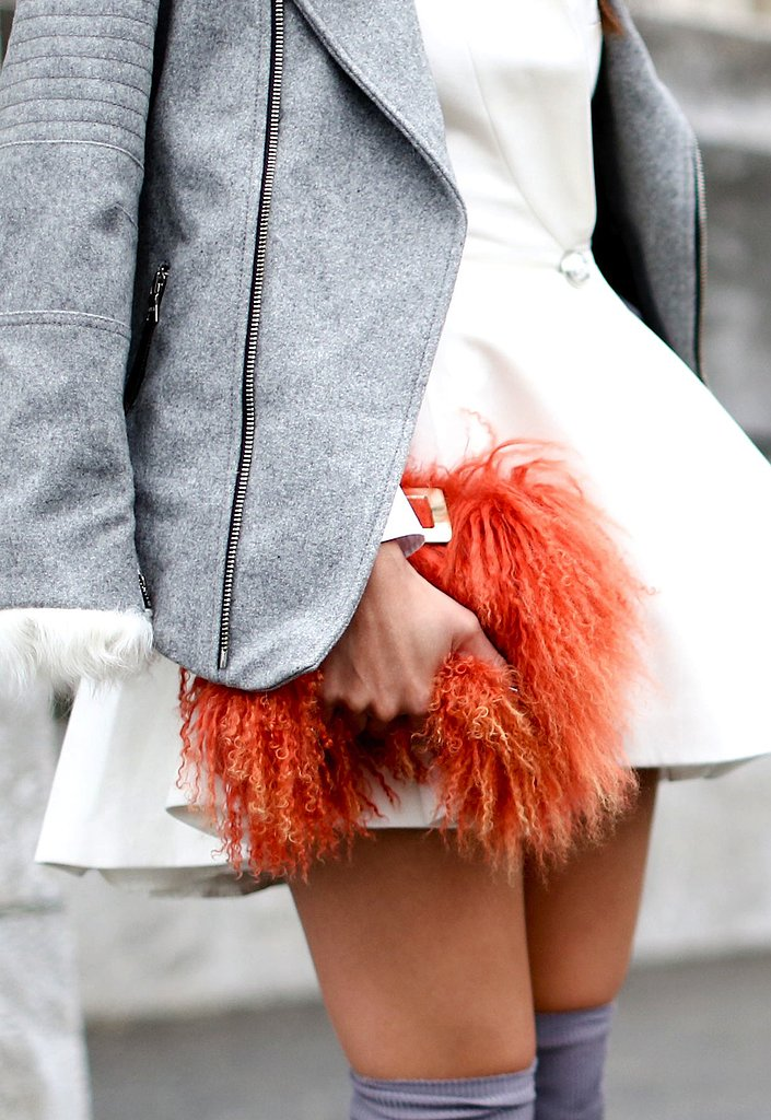 Furry and bright, this statement clutch is sure to turn heads.