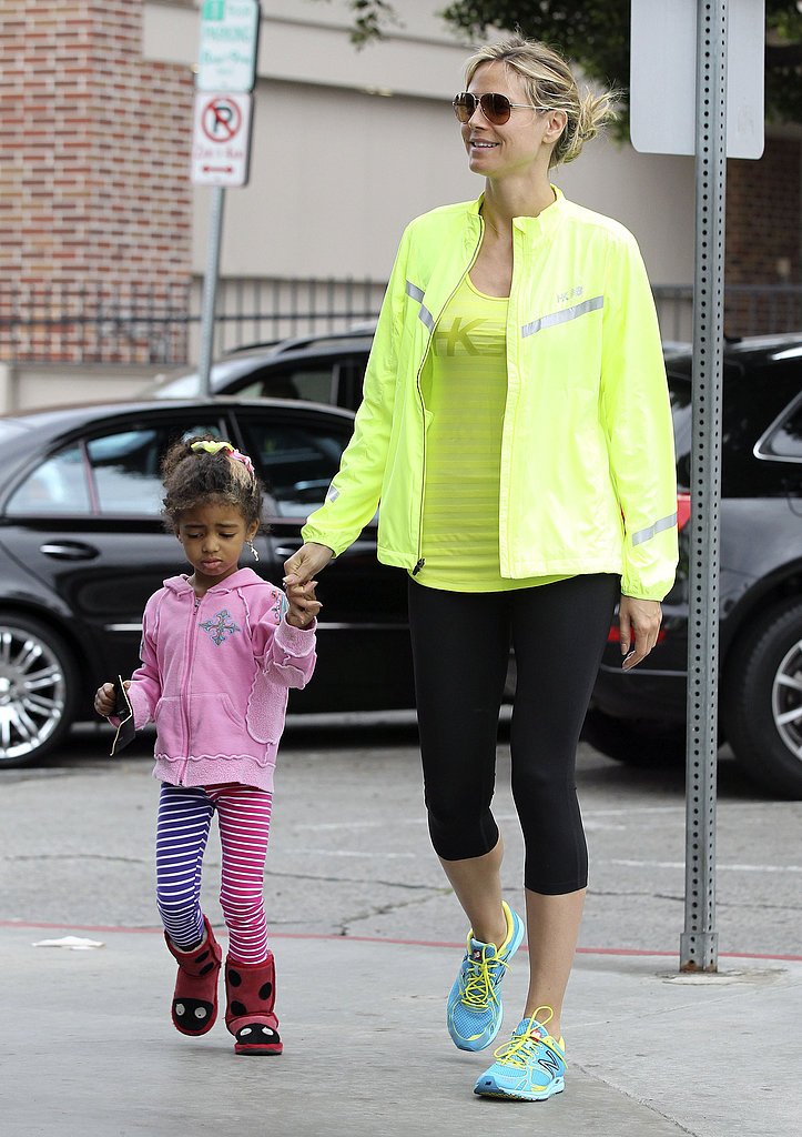 Heidi Klum held onto Lou's hand during a family outing in LA on Sunday.
