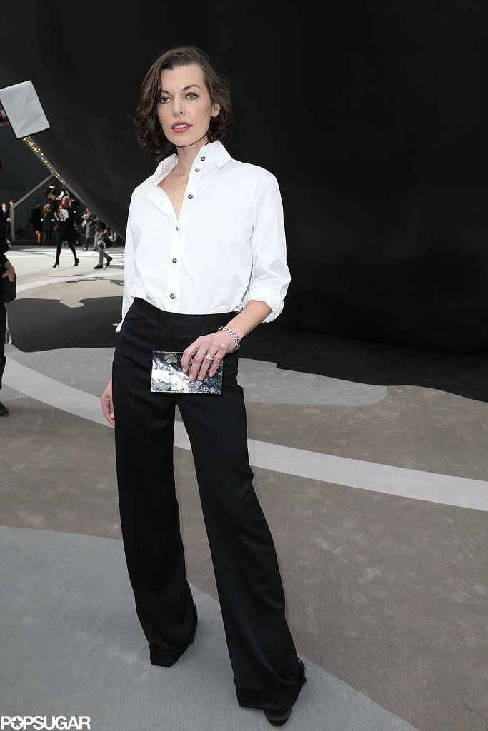 Milla Jovovich went for a black and white ensemble.