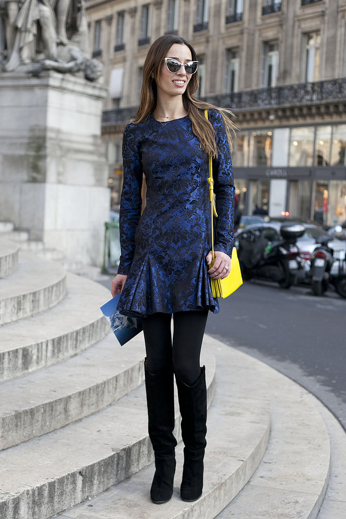 A brocade minidress was a showstopper on the streets.