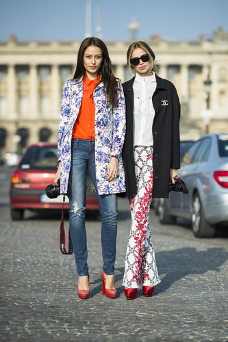These showgoers kept coordinated in pretty florals and red heels. Source: Le 21ème | Adam Katz Sinding