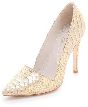 Alice + olivia Dina Snake Embossed Pumps