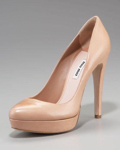 Miu Miu Leather Platform Pump, Nude