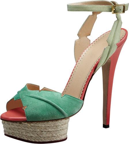 Charlotte Olympia Isla Leaf Espadrille-Platform Sandal