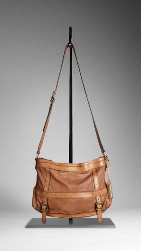 Large Washed Leather Crossbody Bag