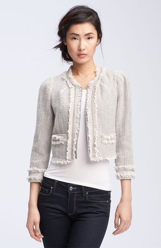 Rebecca Taylor Fringe & Chain Trim Tweed Jacket