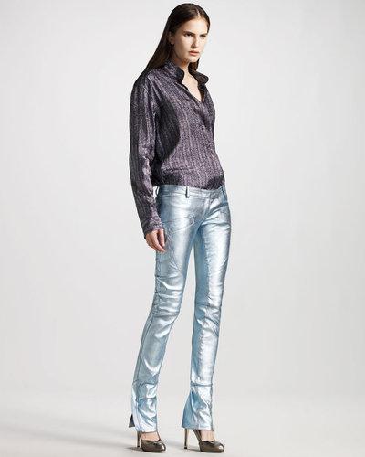 Balmain Leather Glitter Pants