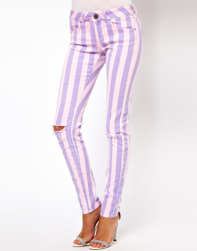 ASOS Elgin Skinny Jeans in Acid Wash Stripe with Rips