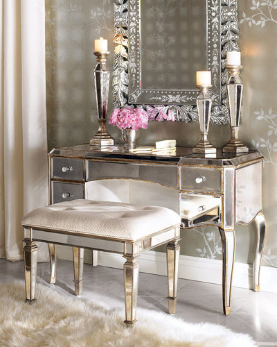 """Claudia"" Mirrored Vanity & Vanity Seat"