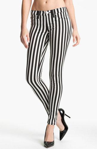 Hudson Jeans 'Krista' Stripe Super Skinny Jeans (Black/White Stripe)
