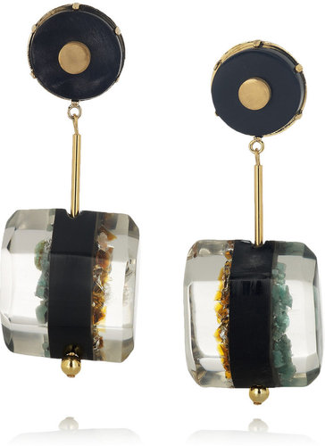 Marni Resin, horn and semi-precious stone clip earrings