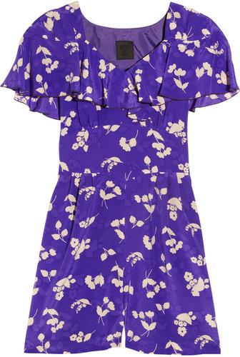 Anna Sui Floral-print silk crepe de chine playsuit