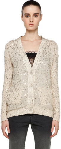 Stella McCartney Sequin Cardigan in Cream/Gold