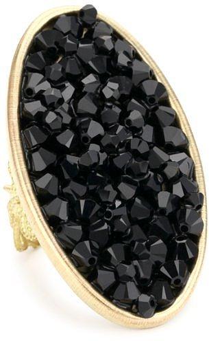 "Liz Palacios ""Lunas"" Large Oval Jet Rock Crystal Adjustable Ring"