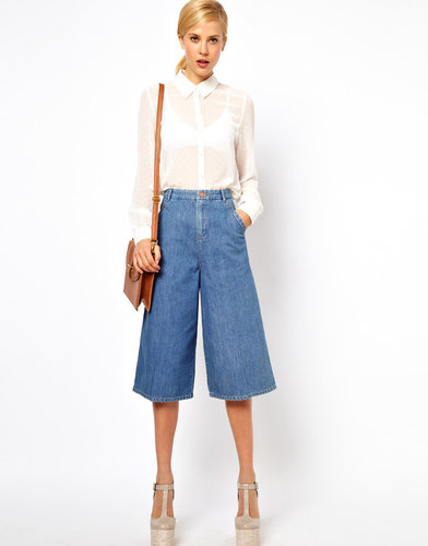 ASOS Denim Culottes in Vintage True Blue