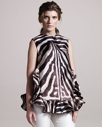 Giambattista Valli Ruffle-Trim Zebra Tunic