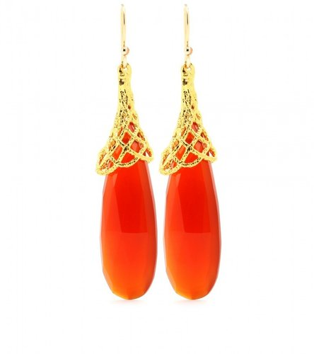 Alexis Bittar WOVEN CAPPED CARNELIAN EARRINGS
