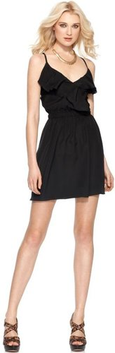 BCBGeneration Dress, Sleeveless V Neck Lace Up Ruffle A Line