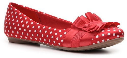 Fergalicious Alana Satin Flat - Red/White Polka Dot