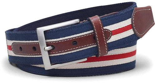 Canvas and Ribbon Striped Belt