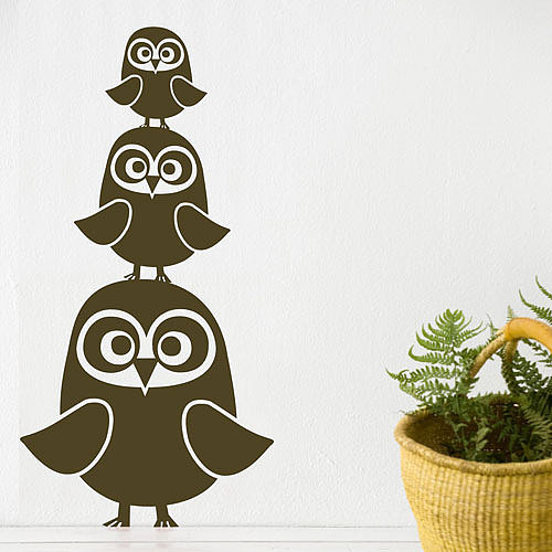 Three Owls Wall Sticker in Choice of Color