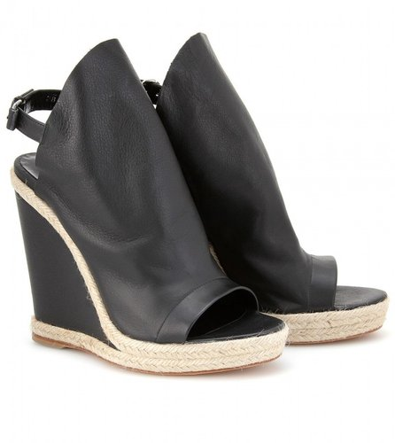 Balenciaga GLOVE ESPADRILLE DETAILED LEATHER WEDGES