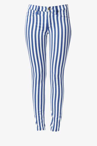 Nico Mid-Rise Super Skinny- Navy & White Stripes